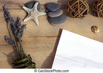 sprigs, etoile mer, bois, lavande, suivant, mensonges, papier, mer, table, pierres, blanc, morceau