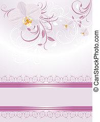 sprigs., orchideen, karte, festlicher
