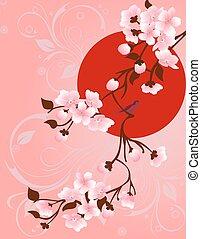 spring., árvore, pássaros, desenho, floral, seu