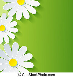 Spring abstract floral background with 3d flower chamomile. Vector background