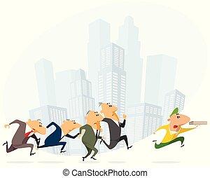 spring, affärsmän, kurir, pizza