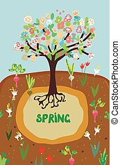 Spring agriculture banner for the garden - flowers and tree growing and blossom