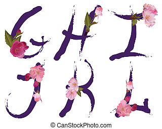 Vector Spring alphabet with gentle sakura flowers letters G,H,I,J,K,L like written by ink