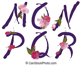 Spring alphabet letters M,N,O,P,Q,R