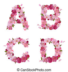 Spring alphabet with cherry flowers ABCD - Vector spring...