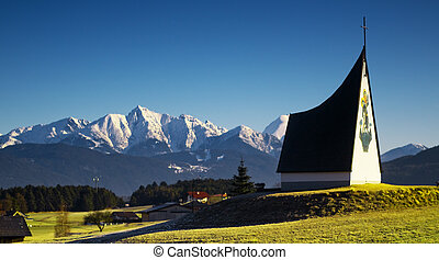 Spring Alpine scenery - Spring Alpine landscape with blue...