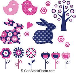 Spring and easter design elements set ( vector )