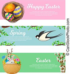 Spring and Happy Easter Vector Web Banners Set