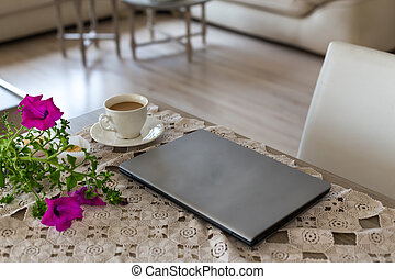 Spring and summer freelance and home office concept.  Laptop and