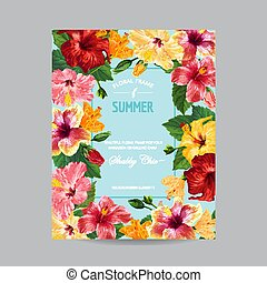 Spring and Summer Greeting Card with Frame. Floral Design with Red Hibiscus Flowers for Weding Invitation, Postcard, Party, Banner, Flyer. Vector illustration
