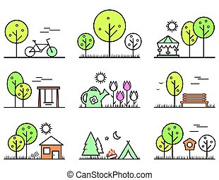 spring and summer outlines concept icons set. part of...