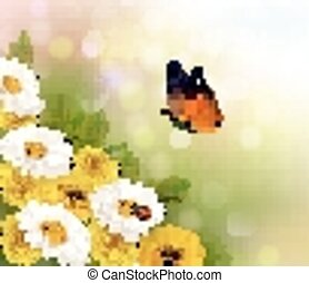 Spring background. Flowers and a butterfly. Vector.