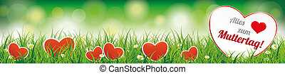 "Spring Background Header Muttertag SH - German text "" Alles..."