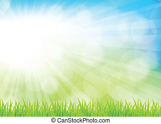 Spring background with grass. Bright illustration