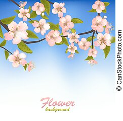 Spring Background of a Blossoming Tree Branch with Flowers