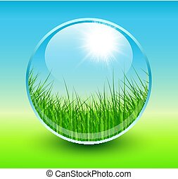 Spring background sphere with grass inside.