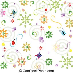 Spring background - Spring repeating floral pattern with...