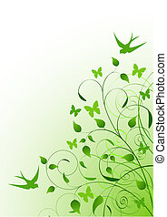 Spring background - Vector Beautiful Green Spring ,...