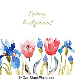 Spring background. Watercolor lowers.