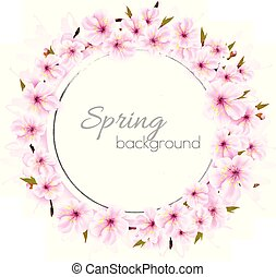 Spring background with a pink blooming sakura. Vector.