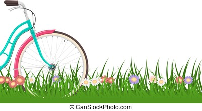 Spring background with a woman bike on grass with flowers
