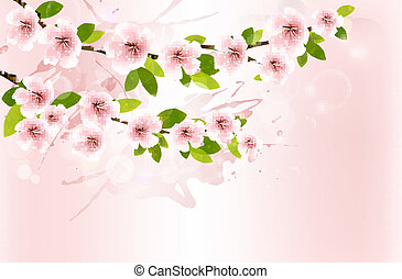 Spring background with blossoming sakura branches. Vector illustration.
