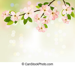 Spring background with blossoming tree brunch with spring flowers. Vector illustration.