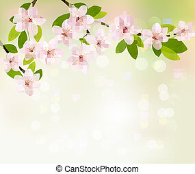 Spring background with blossoming tree brunch with spring flowers. Vector