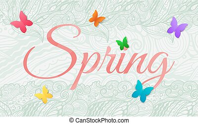 Spring background with butterfly