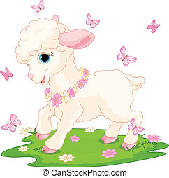 Spring background with Easter lamb and butterflies