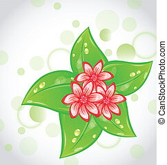 Spring background with flowers and leaves