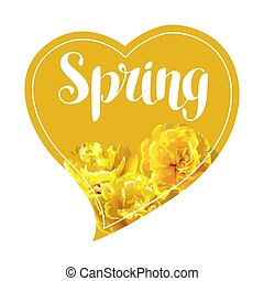 Spring background with fluffy yellow tulips. Beautiful realistic flowers and buds