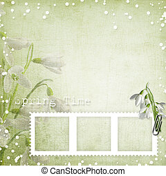spring background with frame and snowdrops