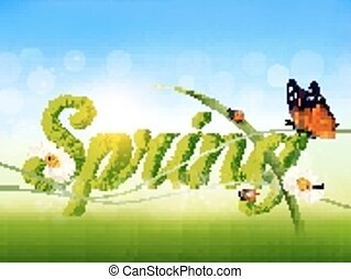 Spring background with grass, sky and a butterfly. Vector.