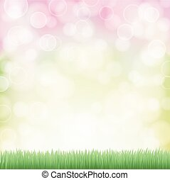 spring background with green grass and bokeh effects lights. vector