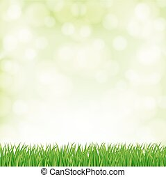spring background with green grass and sky. vector