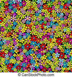 Spring background with multicolored flowers