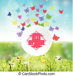 Spring background with round frame and butterflies
