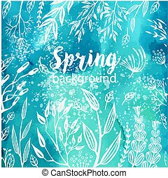 Spring background with sketches plants