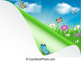 Spring background with sky, flowers, grass