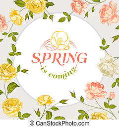 Spring background with text.