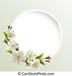 Spring header with white cherry flowers, buds and copy space. Vector illustration