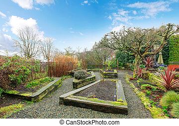Spring backyard garden
