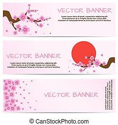 Spring Banner with Blooming Sakura