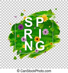 Spring Banner With Flower Transparent Background