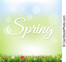 Spring Banner With Flowers