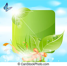 spring banner with leaves, grass, ribbons against the blue sky