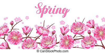 Spring banner with sakura or cherry blossom. Floral japanese ornament of blooming flowers