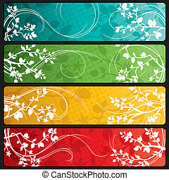 Spring Banners - Four abstract spring themed banners