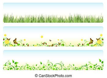 Illustration of three web banners in spring themes: foliage, grass, flowers and butterflies